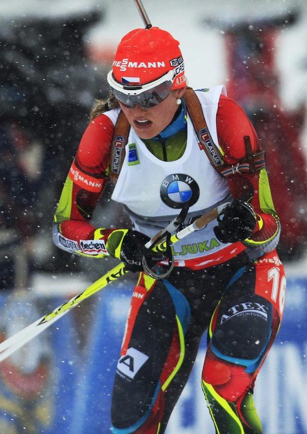 Biatlonistka Gabriela Soukalová si s těžkými podmínkami v Pokljuce poradila skvěle. Slaví první triumf v SP.