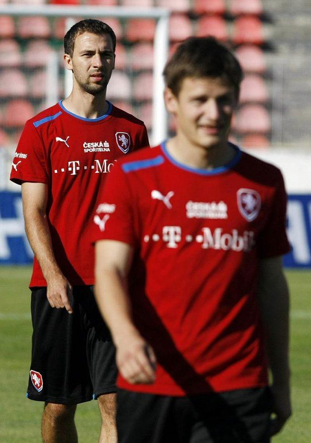 Nováček Josef Hušbauer (vlevo) na tréninku fotbalové reprezentace.