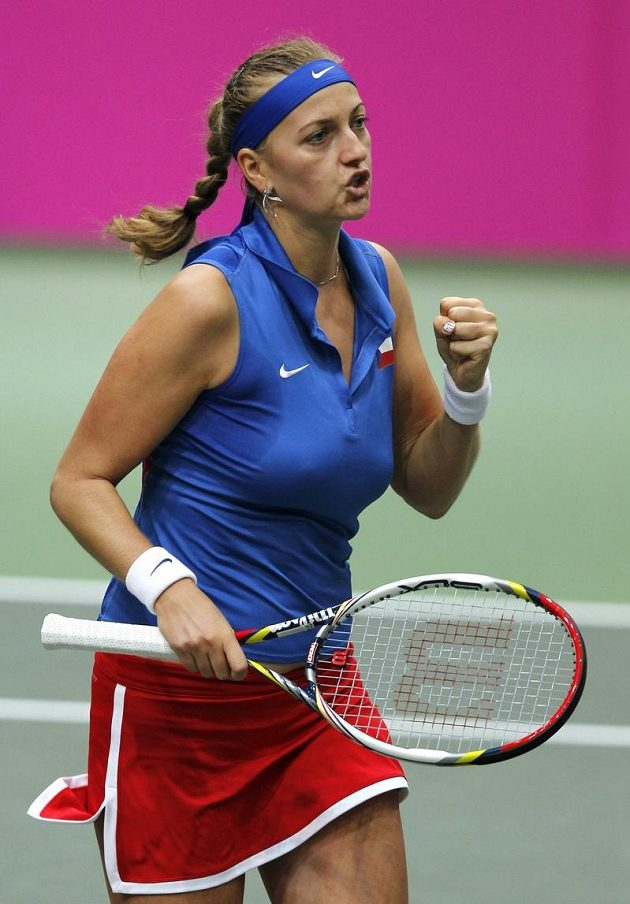 Petra Kvitová při sobotním zápase Fed Cupu