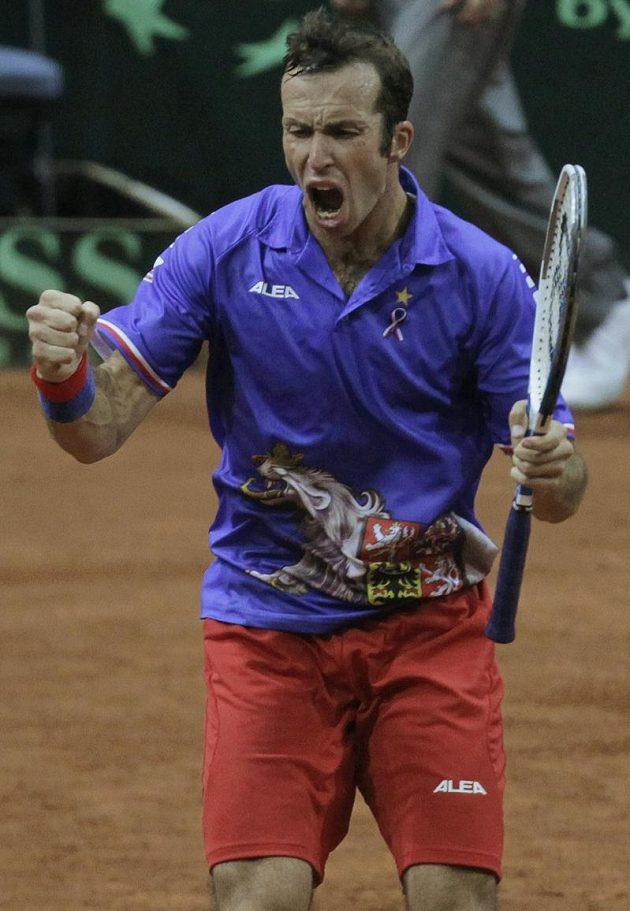 Radost Radka Štěpánka v utkání Davis Cupu proti Srbsku