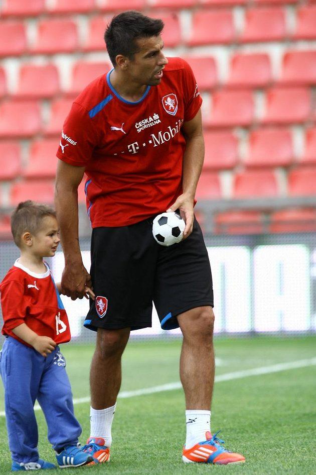 Milan Baroš si přivedl na reprezentační trénink syna