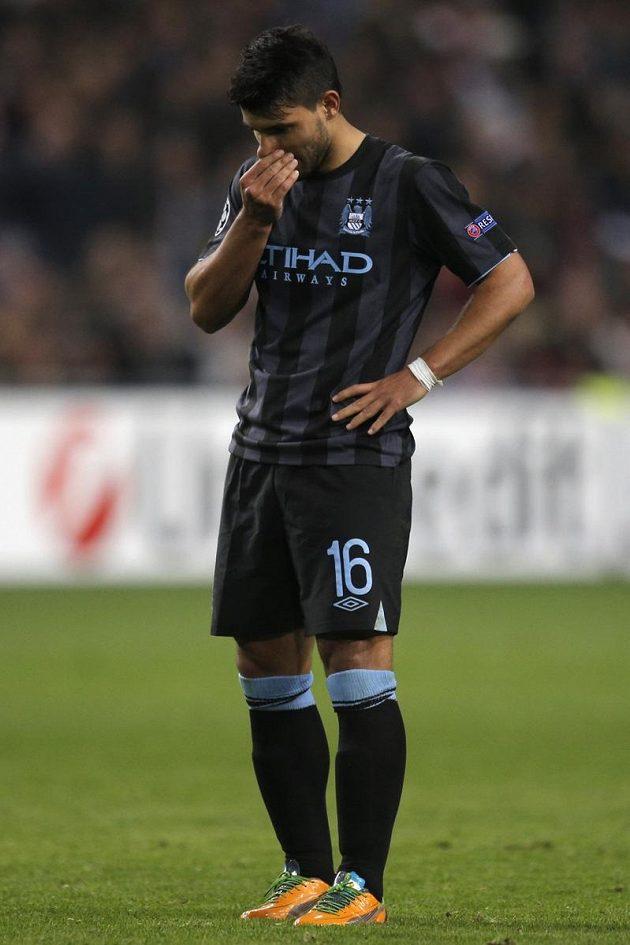 Smutný Sergio Agüero z Manchesteru City