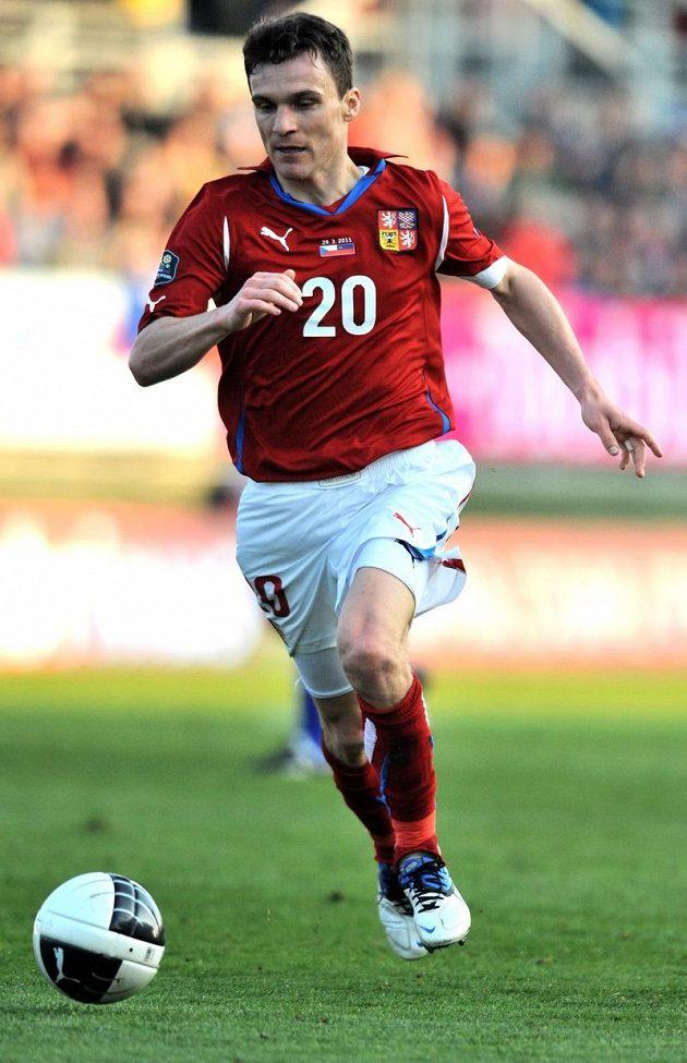 Útočník české reprezentace David Lafata v utkání kvalifikace ME s Lichtenštejnskem v březnu 2011 v Českých Budějovicích.