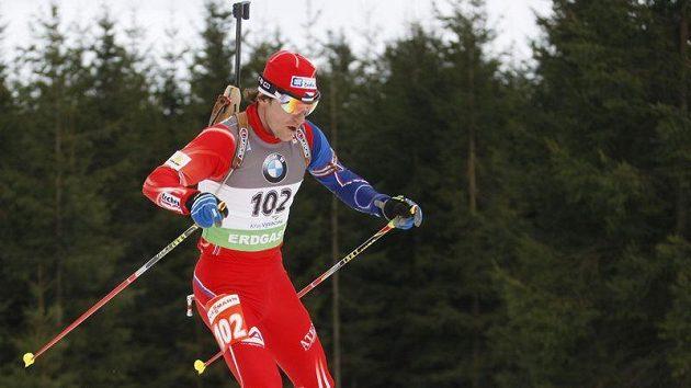 Český biatlonista Zdeněk Vítek na trati v Novém Městě na Moravě