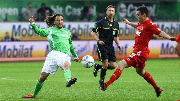 Petr Jiráček při premiéře v dresu Wolfsburgu s kolínským Clemensem.