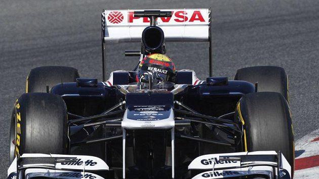 Pastor Maldonado za volantem vozu williams při testech v Barceloně.