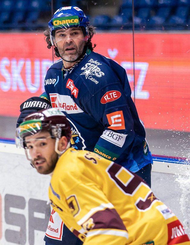 Jaromír Jágr během utkání první ligy s Jihlavou.