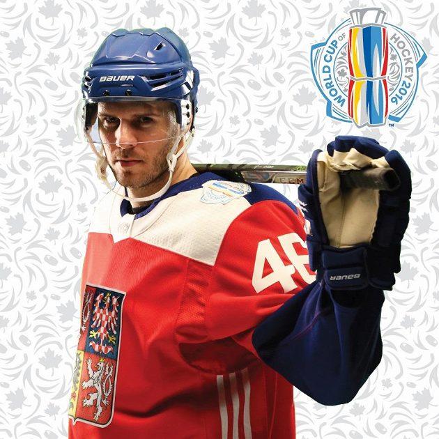 David Krejčí v dresu české hokejové reprezentace pro Světový pohár.