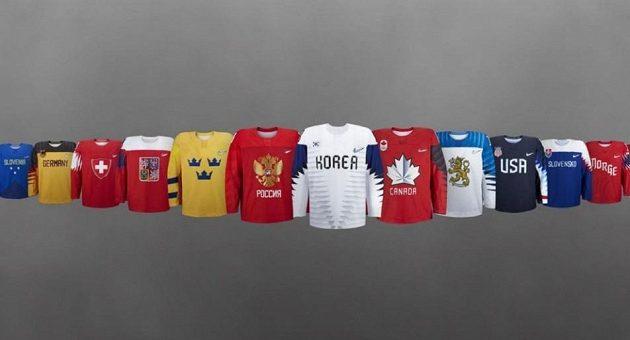Ukázka dresů, ve kterých se hokejové reprezentace představí příští rok na zimních olympijských hrách v jihokorejském Pchjongčchangu.