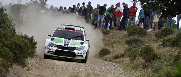 Jan Kopecký se Škodou Fabia R5 na trati Bohemia rallye.