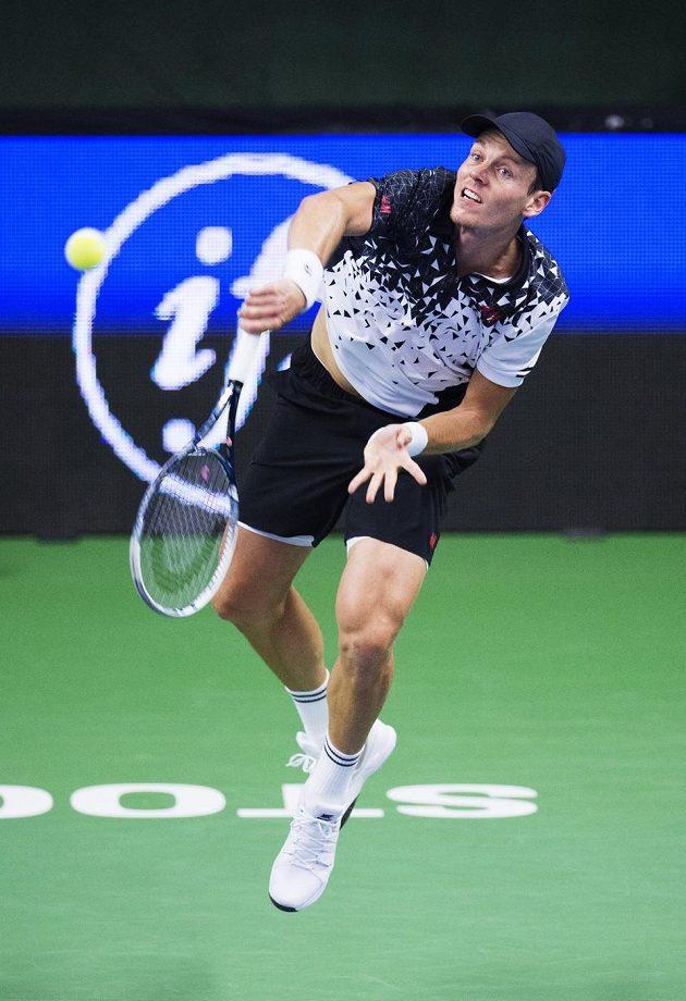Tomáš Berdych na turnaji ve Stockholmu.