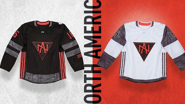 Dres týmu Severní Ameriky složeného z hráčů do 23 let pro Světový pohár v hokeji.