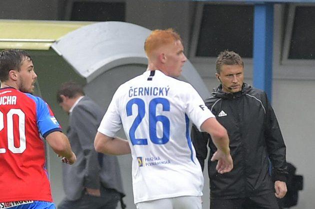 Liberecký záložník Radim Černický a plzeňský Pavel Bucha během utkání ve skupině o titul.