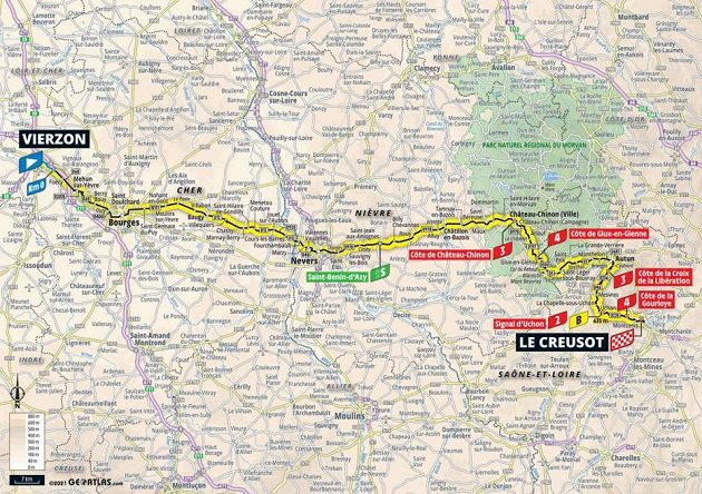 Mapa 7. etapy Tour de France.