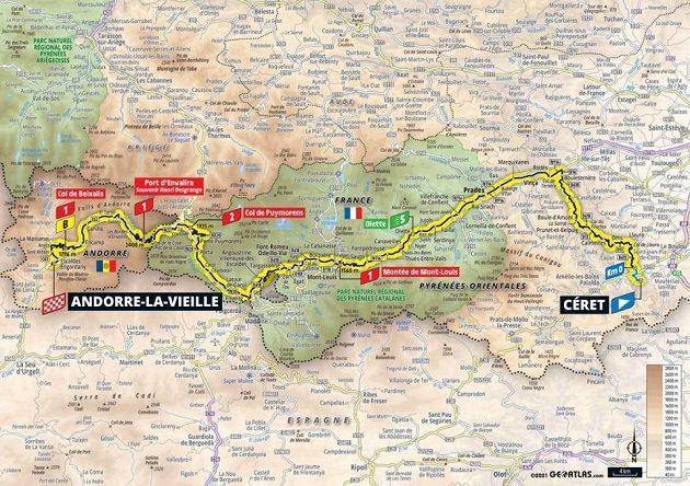 Mapa 15. etapy Tour de France.