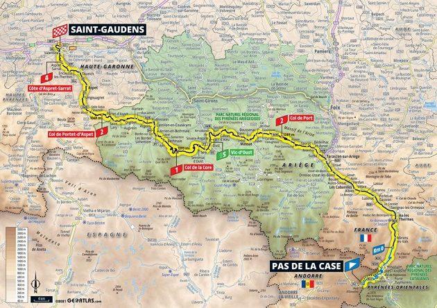 Mapa 16. etapy Tour de France.