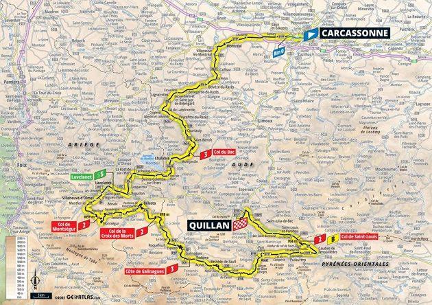 Mapa 14. etapy Tour de France
