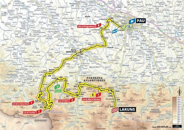 Mapa deváté etapy Tour de France.