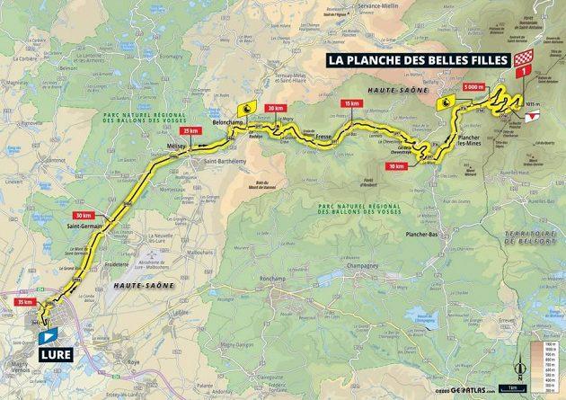 Mapa 20. etapy Tour de France
