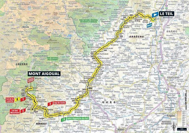 Mapa 6. etapy Tour de France.