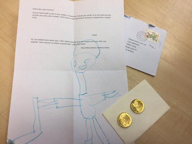 Dopis, který poslal čtyřletý Daník Liboru Zábranskému.