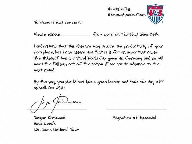 Omluvenka americkým zaměstnavatelům podepsaná koučen národního týmu Jürgenem Klinsmannem.