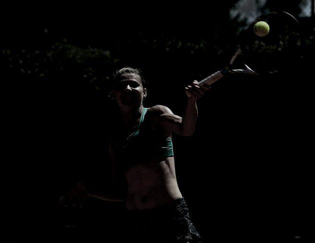 Česká tenistka Lucie Šafářová zahrává forhend ve stínu na dvorci v Palermu při přípravě na fedcupový duel s Itálií.