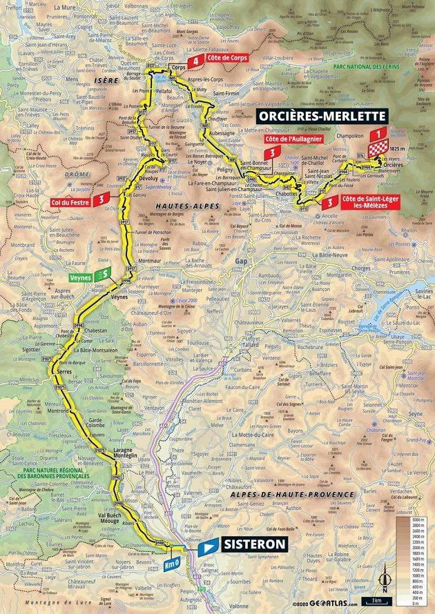 Mapa 4. etapy Tour de France.