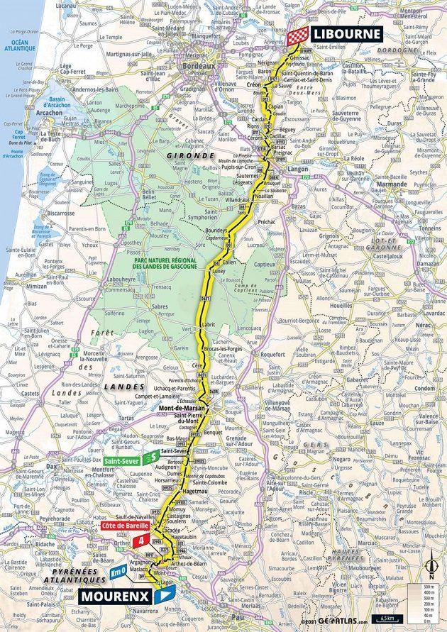 Mapa 19. etapy Tour de France.