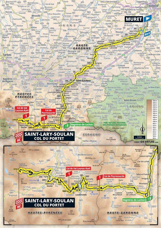 Mapa 17. etapy Tour de France