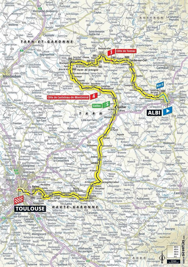 Mapa 11. etapy Tour de France