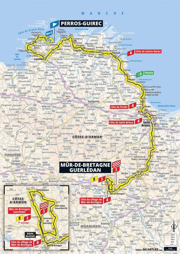 Mapa 2. etapy 108. ročníku Tour de France.