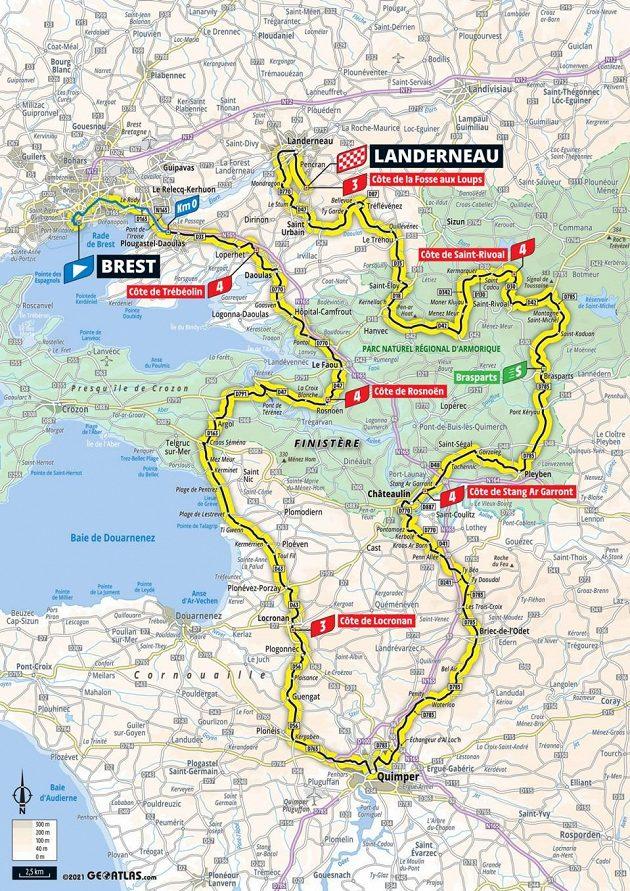 Mapa 1. etapy 108. ročníku Tour de France.