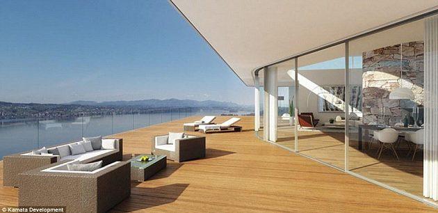 Terasa domu Rogera Federera na břehu Ženevského jezera