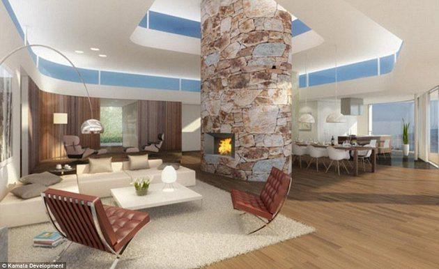 Luxusně zařízený interiér s krbem