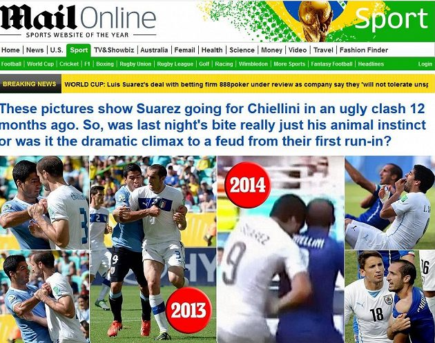 Britský deník Daily Mail přišel s fotografiemi, že se uruguayský útočník Luis Suárez pokusil italského obránce Giorgia Chielliniho pokousat už ve vzájemném zápase v roce 2013.