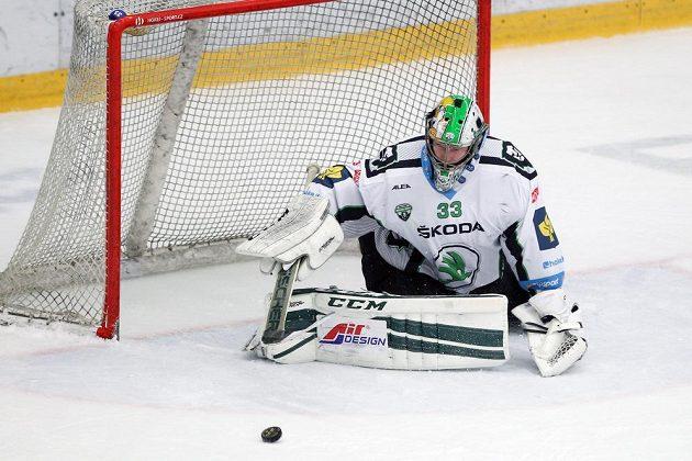 Boleslavský brankář David Rittich ve třetím čtvrtfinále proti Hradci Králové.