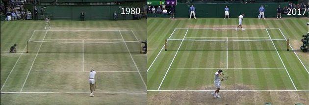 Pro srovnání, kurt při Wimbledonu v roce 1980 (vlevo) a 2017.
