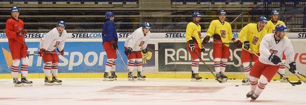 Trénink české hokejové reprezentace před zápasy Euro Hockey Tour s Ruskem.