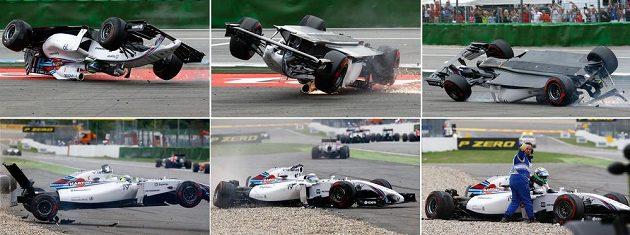 Tyto obrázky znázorňují kotrmelec brazilského pilota Felipeho Massy.