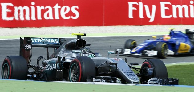 Nico Rosberg na trati Velké ceny Německa.