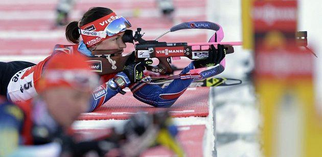 Veronika Vítková vybojovala v závodě s hromadným startem v Ruhpoldingu třetí místo.