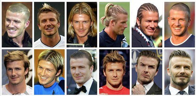 David Beckham a jeho slavné účesy.