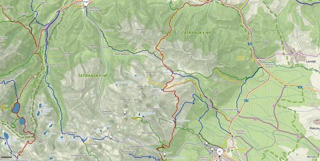 Mapa trasy běhu ve Vysokých Tatrách.