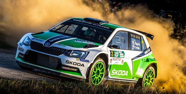 Jan Kopecký se Škodou Fabia R5 na trati Šumavské rallye 2015.