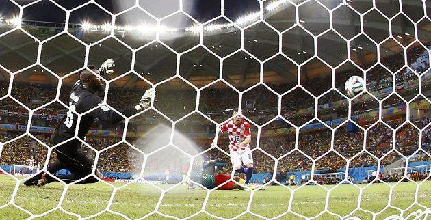 Chorvat Ivica Olič otevřel skóre proti Kamerunu, brankář Charles Itandje byl bezmocný.
