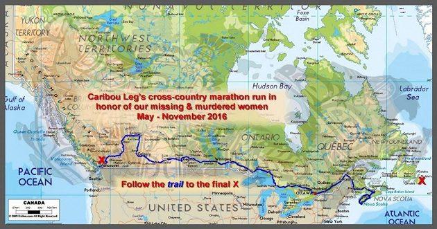 Mapa běhu nezdolného Indiána.
