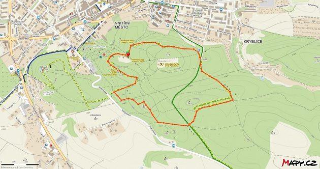 Mapa krásně kopcovitého trutnovského okruhu.