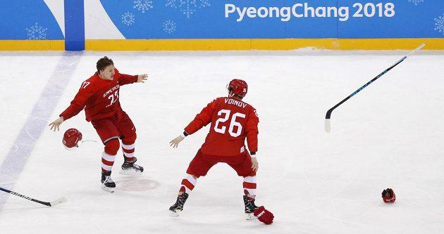Hotovo, zlato bere sborná. Ruští hokejisté vyhráli nad Německem ve finále olympijského turnaje 4:3 po prodloužení.