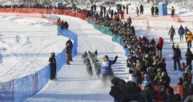 Třiašedesátiletý veterán závodu Linwood Fiedler na trati Iditarodu, při němž letos vypadl ze saní a musel do cíle jedné z etap pěšky.